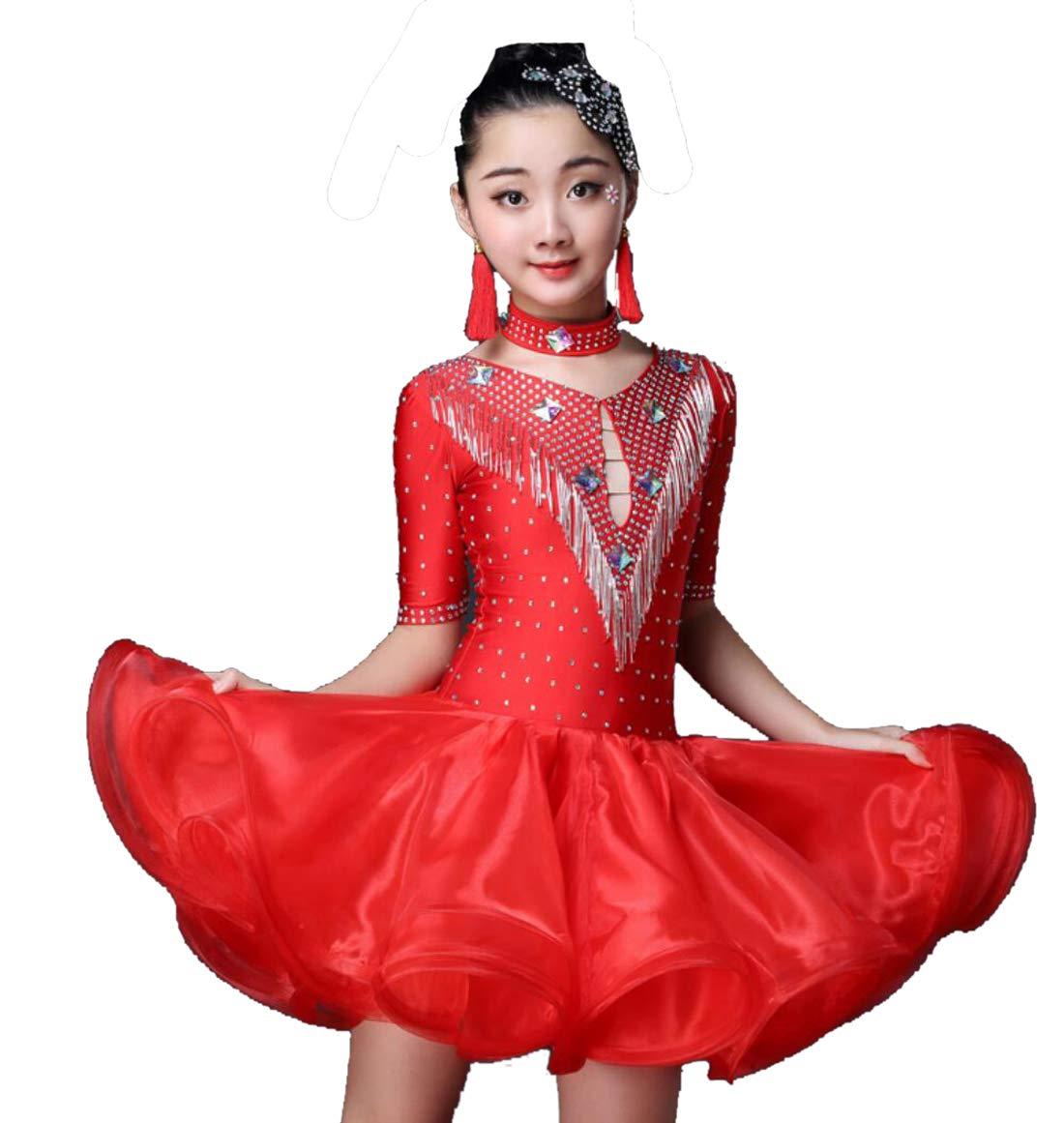 Rouge SMACO Robe de Danse Latine pour Enfants, Robe de Danse Latine Fille pour Enfants 130CM