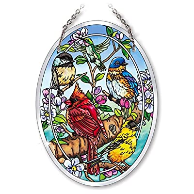"Amia 42134 Songbird Beveled Glass Medium Oval Suncatcher, 7"": Home & Kitchen"