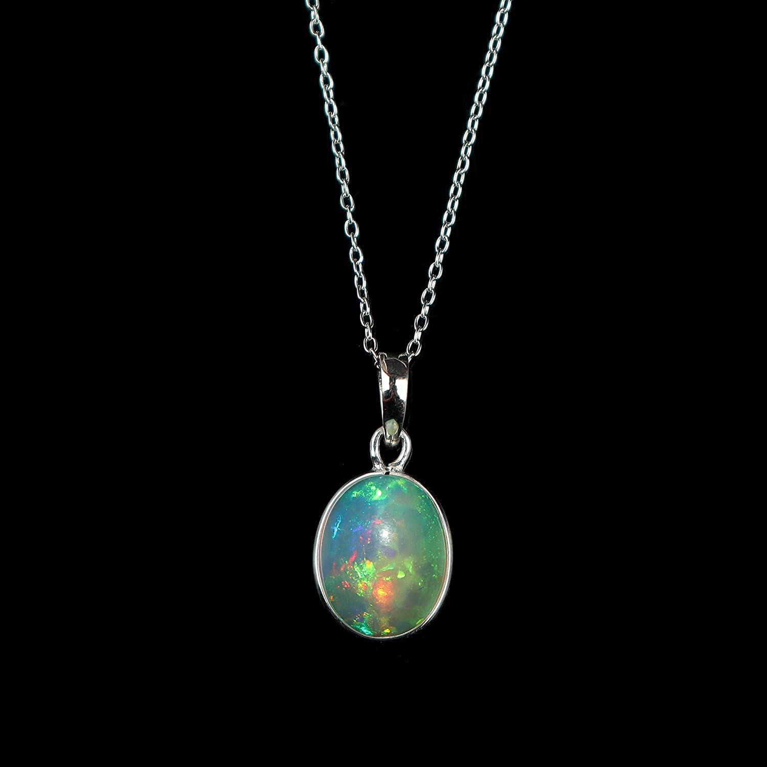 925 Sterling Silver Gold Plated Faceted Bezel Set Natural White Ethiopian Fire Opal Necklace October Birthstone Necklace Gift for Friend