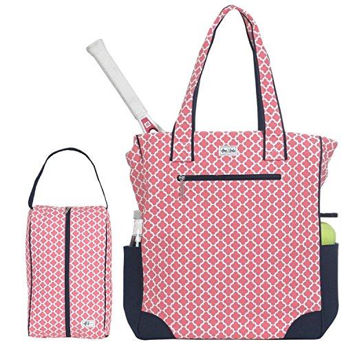 Ame & Lulu Emerson Women's Tennis Tote with Matching Drawstring Shoe Bag, Clover Oversize Tennis Bag