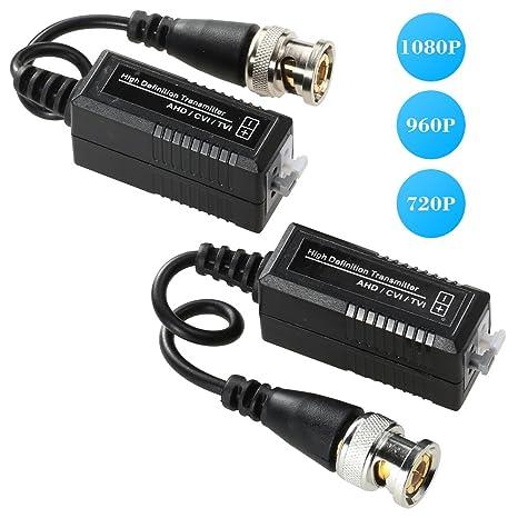 KKmoon conector para CCTV cámara 1 par Video Balun AHD 720P 1080P CVI TVI coaxial a UTP Cat5 Cat6 conector para CCTV cámara: Amazon.es: Electrónica