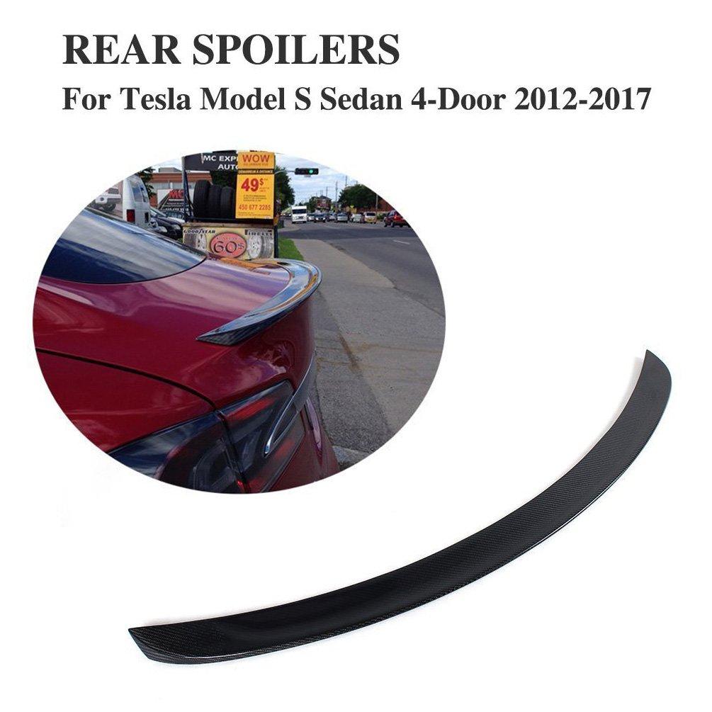 Amazon.com: jcsportline Carbon Fiber Spoiler for Tesla Model S 2012 ...