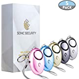 Sonic Security Personal Alarm Keychain with LED Flashlight (5 Pack) - 130 dB - Loud Emergency Self Defense Device for Women, Kids, Men, Elderly, and Night Workers - Portable Safe Sound Rape Whistle