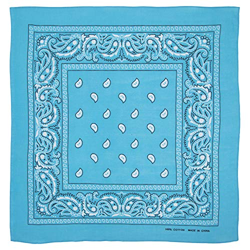 Large 100% Cotton Paisley Bandanas (22 inch x 22 inch) - Turquoise Single Piece 22x22 - Use For Handkerchief, Headband, Cowboy Party, Wristband, Head Scarf - Double Sided Print