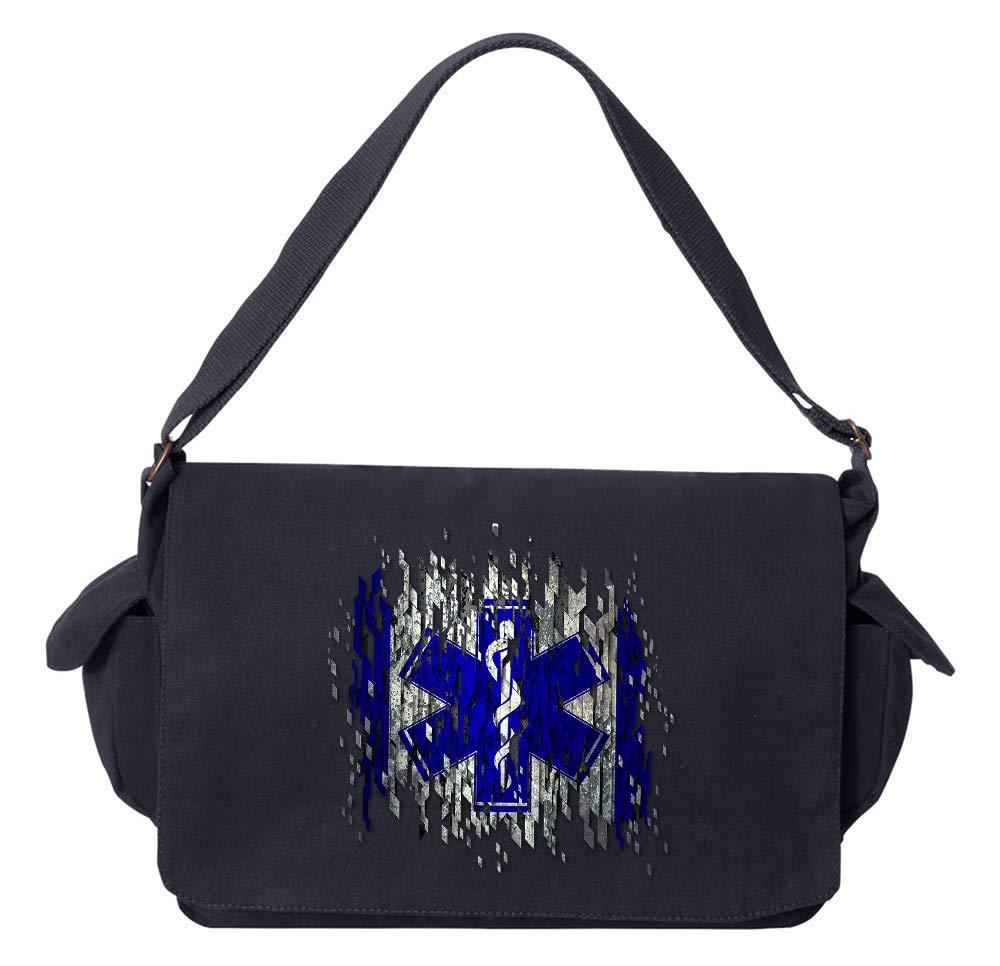 Tenacitee EMS Digital Flag Khaki Green Raw Edge Canvas Messenger Bag