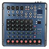 ammoon 8 Channel 3-Bands Equalizer Digital Mic Line Audio LED Mixer Mixing Console with 48V Phantom Power USB MP3 Player for Recording DJ Stage Karaoke Music Appreciation