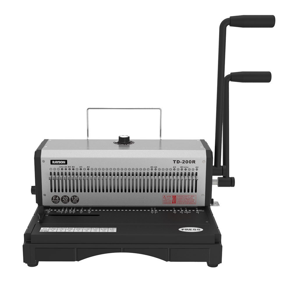 Rayson TD-200R Wire Binding Machine - 40 Holes Wire Equipment, 3:1 Pitch, All 40 Disengaging Dies, Round (Diameter 0.18'') Hole Punch, Heavy-Duty, 20 Sheets Single Punching Capacity