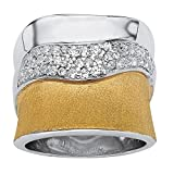 18K Yellow Gold over Sterling Silver Round Cubic Zirconia Two Tone Free Form Ring