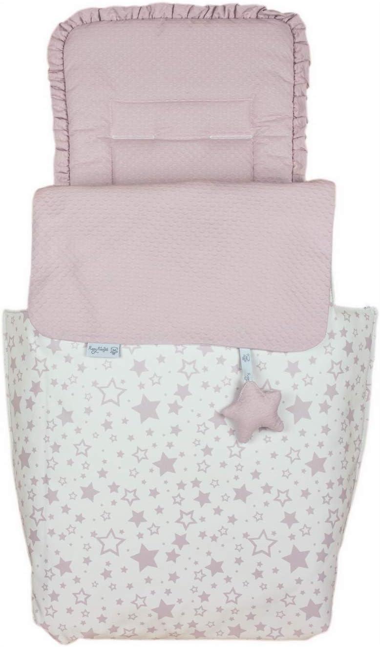 Saco de coche o capazo universal Rosy Fuentes en blanco rosa empolvdo