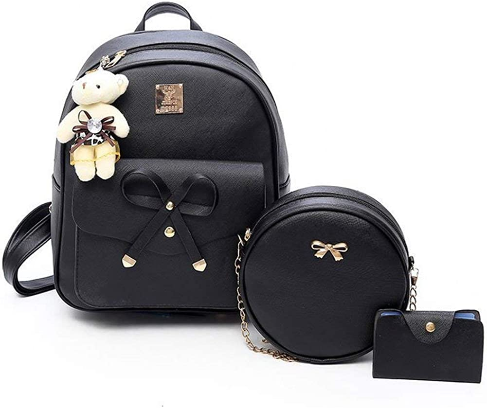 Girls Bowknot Fahsion Leather Backpack Mini Backpack Purse for Women