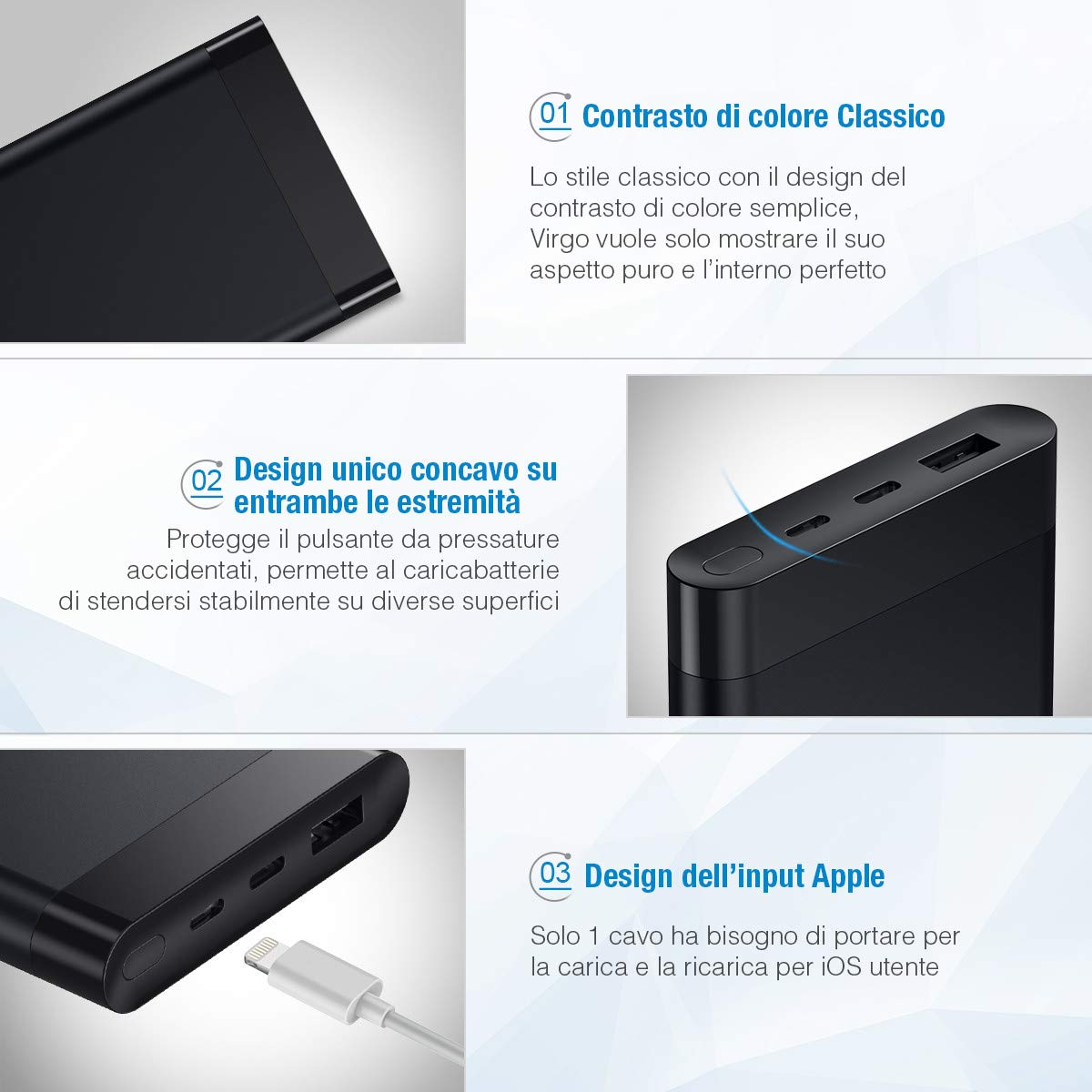 Poweradd Virgo II Powerbank Batteria Portatile 10000mAh con 2 Uscite, Caricabatterie Portatile con display LED, Entrata Lightning + Type-C per iPhone X / 8 / 7 / 6, Samsung S9 / S8 + e tanti altri - Nero