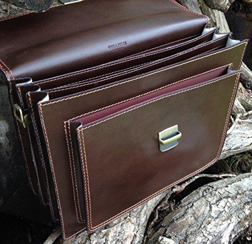 40,6cm Italienisches dunkelbraun Aktentasche Hand Made serguio rogetti Leder Laptop Tasche, Portfolio