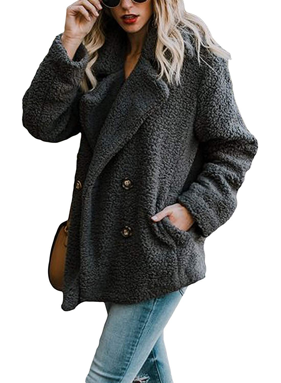 SONGANG Women Fleece Open Front Coat Sherpa Outwear Collar Jacket Coat with Pockets at Amazon Womens Coats Shop