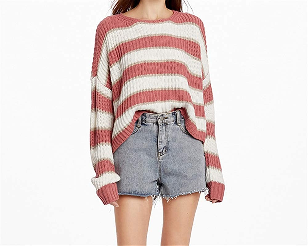 NSJIB Sweaters for Women Autumn and Winter Round Neck Striped Sweater Loose Pullover Sweater