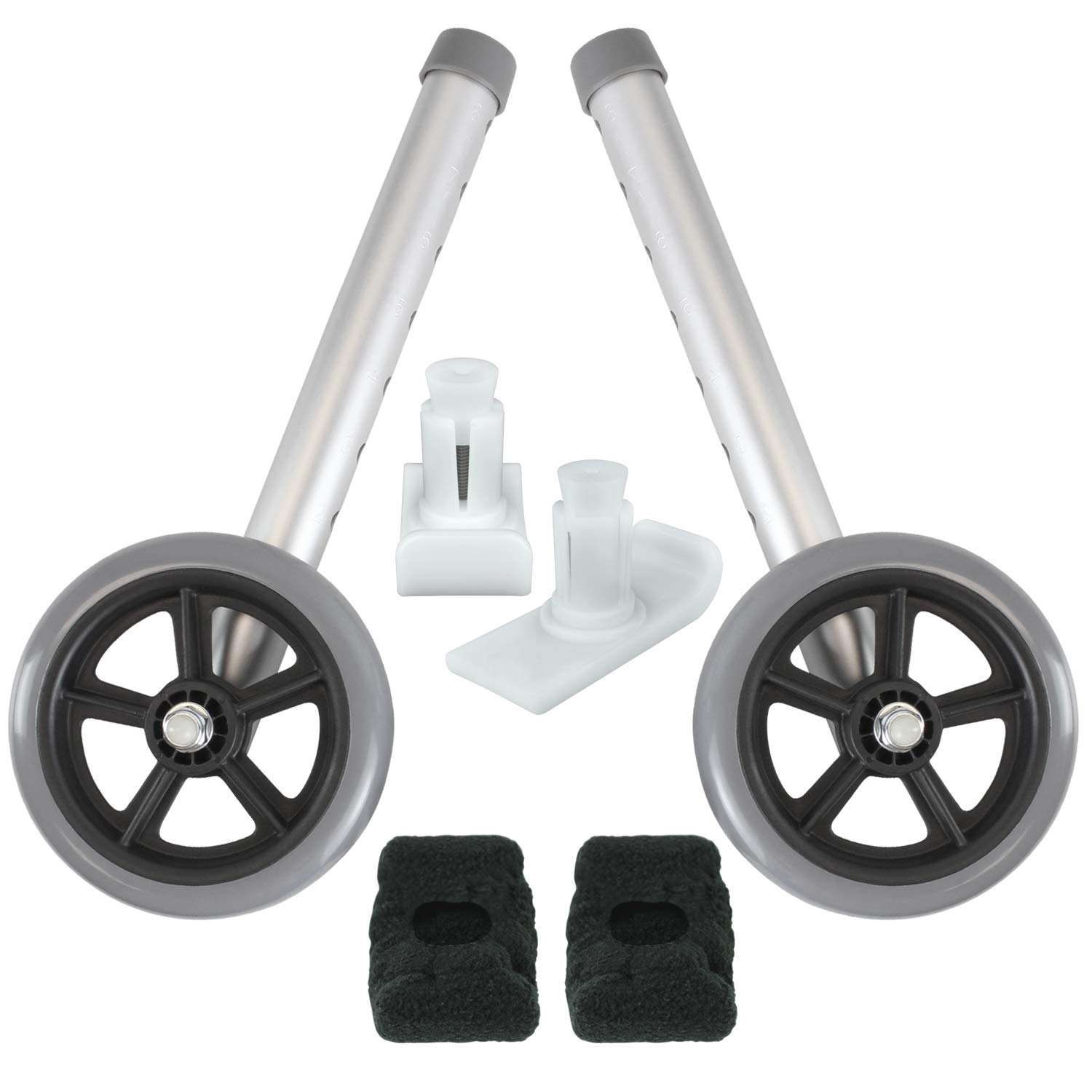Vive Walker Wheels and Ski Glides - Replacement Feet - Accessories Parts Set for Folding Medical Walkers - Universal Front, Back Stability Safety Wheel - Includes 2 Glide Tips, Two 5 Inch Rubber Wheel by Vive