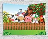 Ambesonne Cartoon Decor Tapestry, of Cute Farm Animals on the Fence Comic Mascots with Dog Cow Horse for Kids Decor, Wall Hanging for Bedroom Living Room Dorm, 80 X 60 Inches, Multi