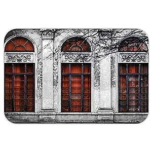 VROSELV Custom Puerta matvintage Decor fachada de Edificio de Abandonar histórico Antiguo con Arco Grande Ventana Patrimonio Art, Gris y Rojo