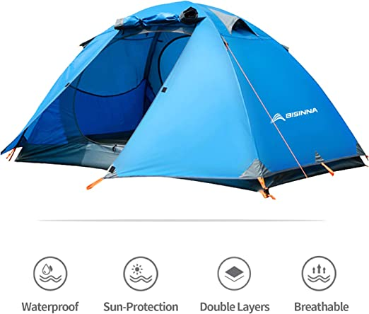 BISINNA Ultralight 2 and 3 Person Backpacking Tent with Footprint-Waterproof Two Doors Easy Setup Double Layer 4 Seasons Lightweight Dome Tents for Camping Hiking Outdoor Mountaineering