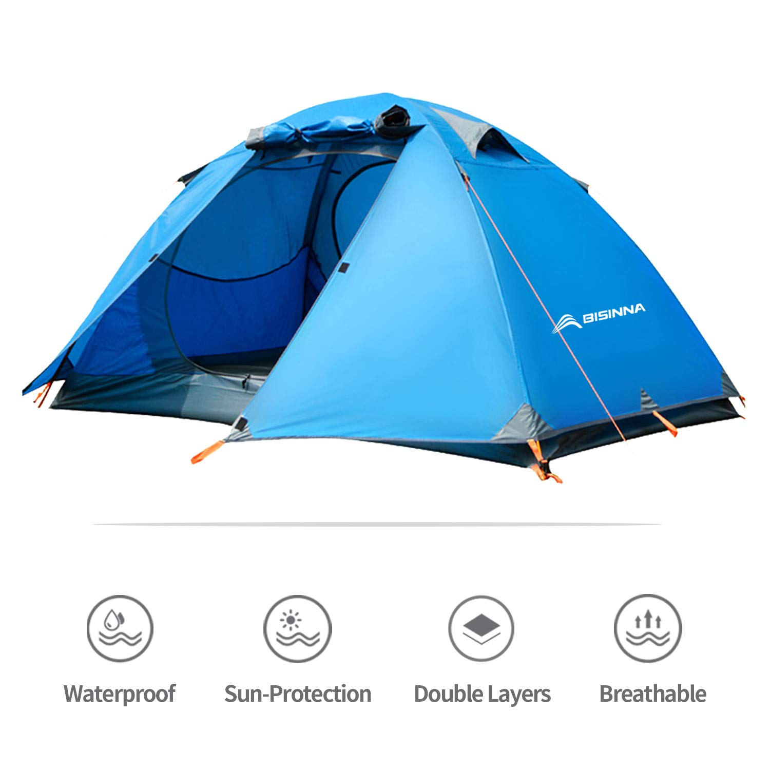 BISINNA 2 Person Camping Tent Ourdoor Lightweight Waterproof Easy Setup Two Doors 3 Season Double Layer Instant Backbacking Tent for Camping Backpacking Hiking Travelling Hunting with Carry Bag