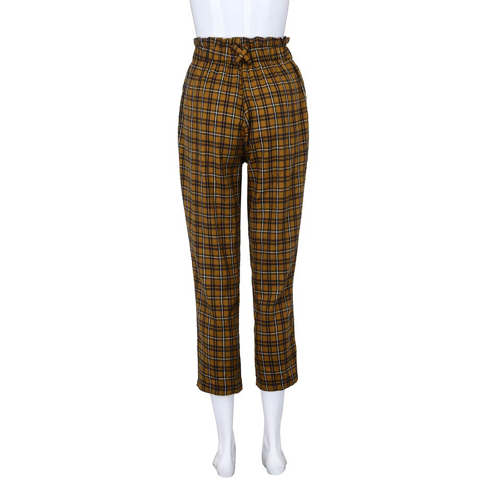 132fabf82b Stylish and Attractive for Daily EraseSIZE Womens Elastic Waist Casual  Pants Shein Exposed Zip Fly Plaid Peg ...