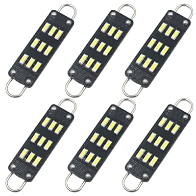 "AMAZENAR 6-Pack 44mm 1.73"" Extremely Bright White 561 562 567 564 RL4410 Non-Polarity Festoon LED Bulb 3014 9 SMD 12V Rigid Loop Interior Light for Dome Map Buick Engine Compartmen Bulb: Automotive"