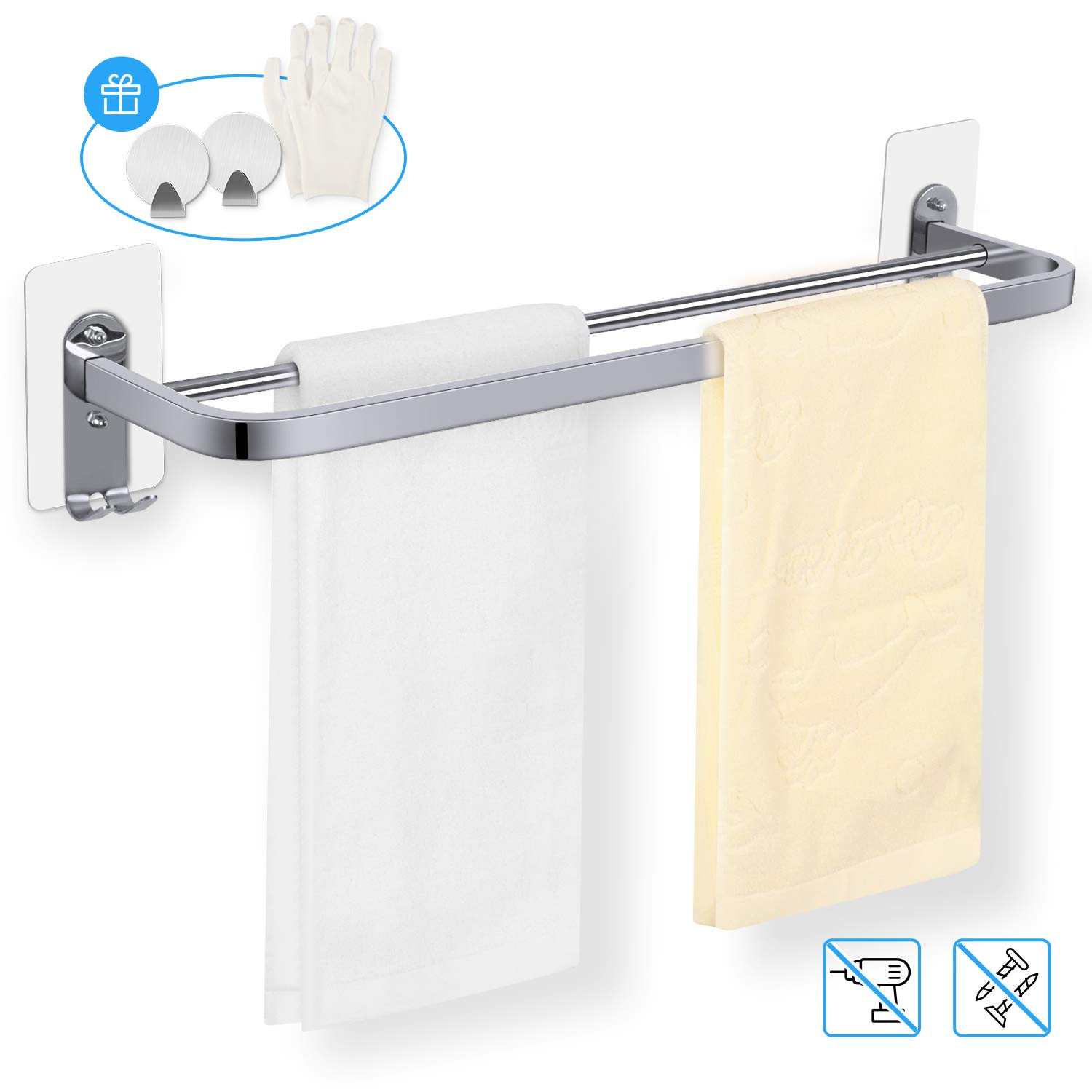 Double Towel Rail, 23in/58cm Self Adhesive or Wall Mounted Stainless Steel Towel Rack Holder with Double Hooks -2 Small Hooks and Gloves as Gift, MENNYO Bathroom Kitchen Hardware Accessory
