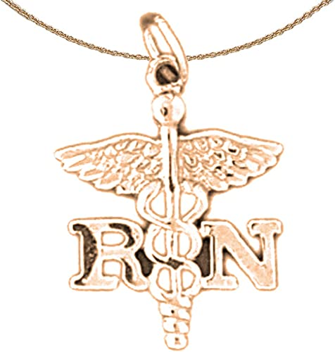 Registered Nurse Pendant with 30 Necklace Jewels Obsession Rn Registered Nurse Necklace Rhodium-plated 925 Silver R.N
