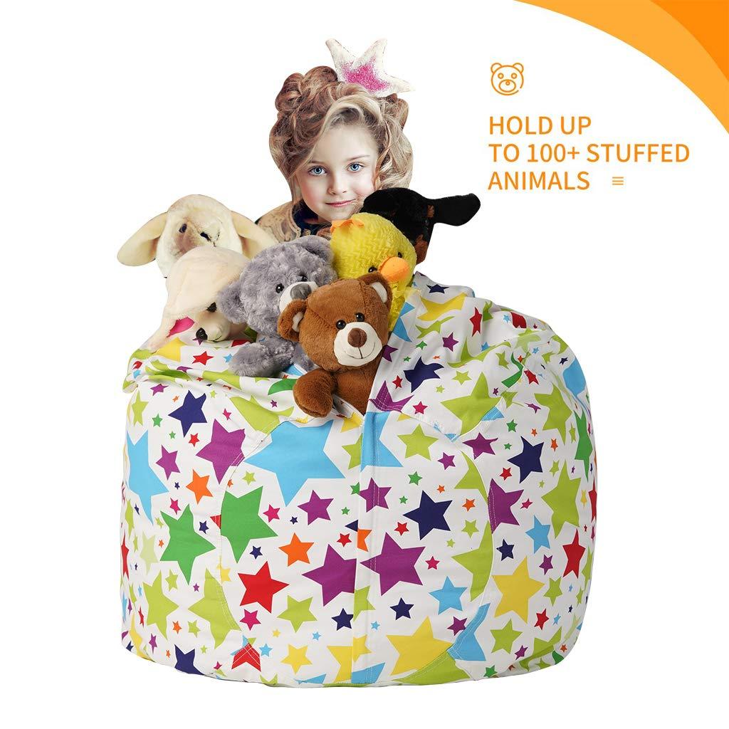 CALA LIFE Stuffed Animal Storage Bean Bag Chair Cover,Extra Large Stuffed Animal Storage Bag,Toy Storage Bean Bag for Organizing Kids Room Fits a Lot of Stuffed Animals Animals Print
