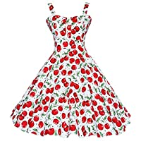 Maggie Tang Women's 1950s Vintage Rockabilly Dress White Big Cherry Size 3XL