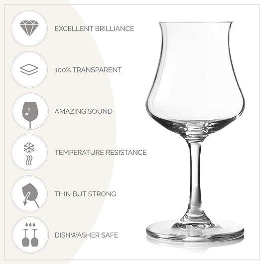 Maison Forine - Juego de 4 copas de ron de cristal de coñac (170 ml)