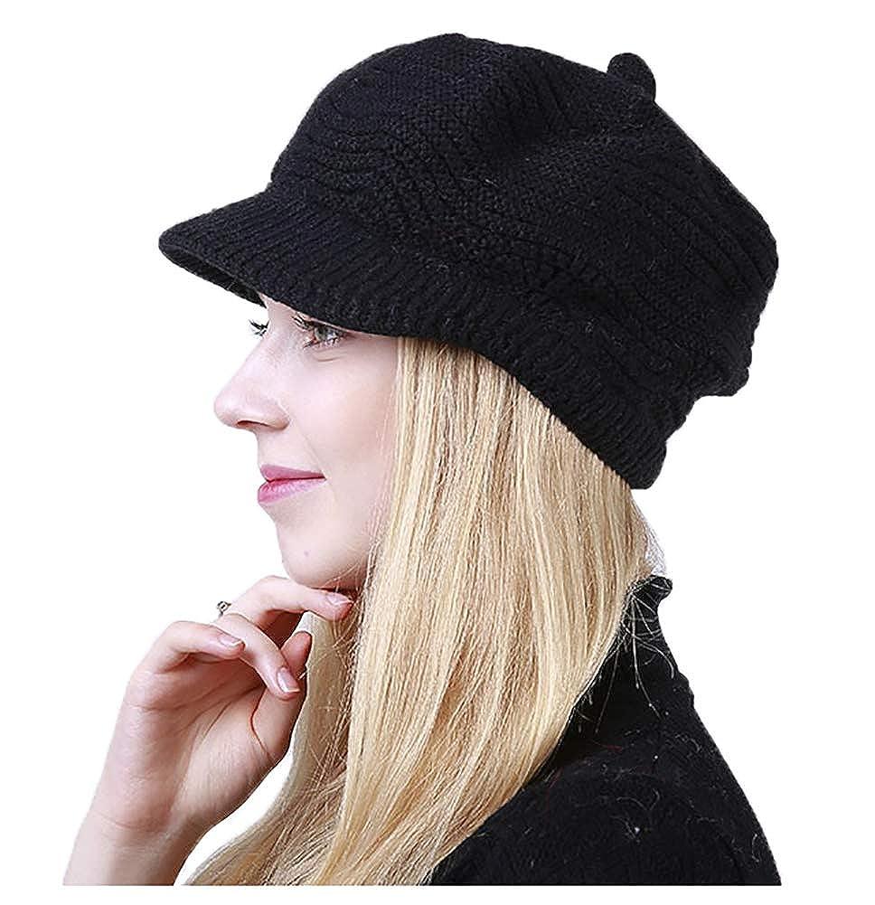 Black Molodo Women's Winter Warm Slouchy Cable Knit Beanie Hat Ski Caps Visor
