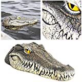 13 Inch Alligator Pool Float, Vuffuw Decoy Alligator Head with Reflective Eyes, Floating Crocodile for Pool, Pond, Garden and Patio