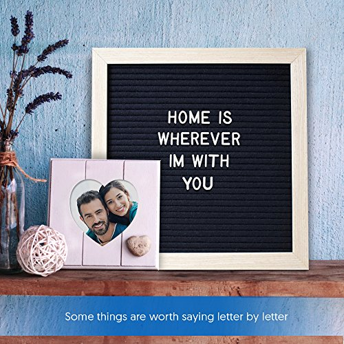 "Felt Letter Board Letters & Frame – 290 White Letters, 10"" x 10"" Oak Wood Felt Board with Stand & Scissors – Changeable Letterboard Sign for Messages, Décor, Stores, & Family Learning – Letterboards Photo #7"