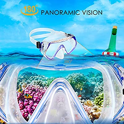 OMORC Snorkel Set, Anti-Fog Snorkel Mask Impact Resistant Panoramic Tempered Glass, Free Breathing Anti-Leak Dry Top Snorkel, Professional Snorkeling Set Adult Youth