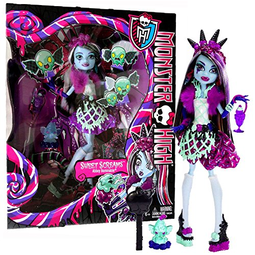 MH Year 2014 Monster High Sweet Screams Series 11 Inch Doll Set - Abbey BOMINABLE with Glass, Candy Pet Mammoth, Hairbrush and Display -