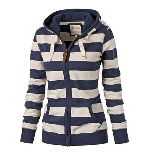 Mujeres Slim Stripe Sudadera con Capucha - Señoras Coat Drawstring Hoodie más tamaño Jacket Top mang...