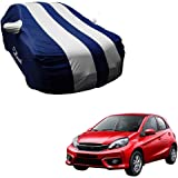 Autofurnish Silver Stripe Car Body Cover Compatible with Honda Brio - Arc Blue