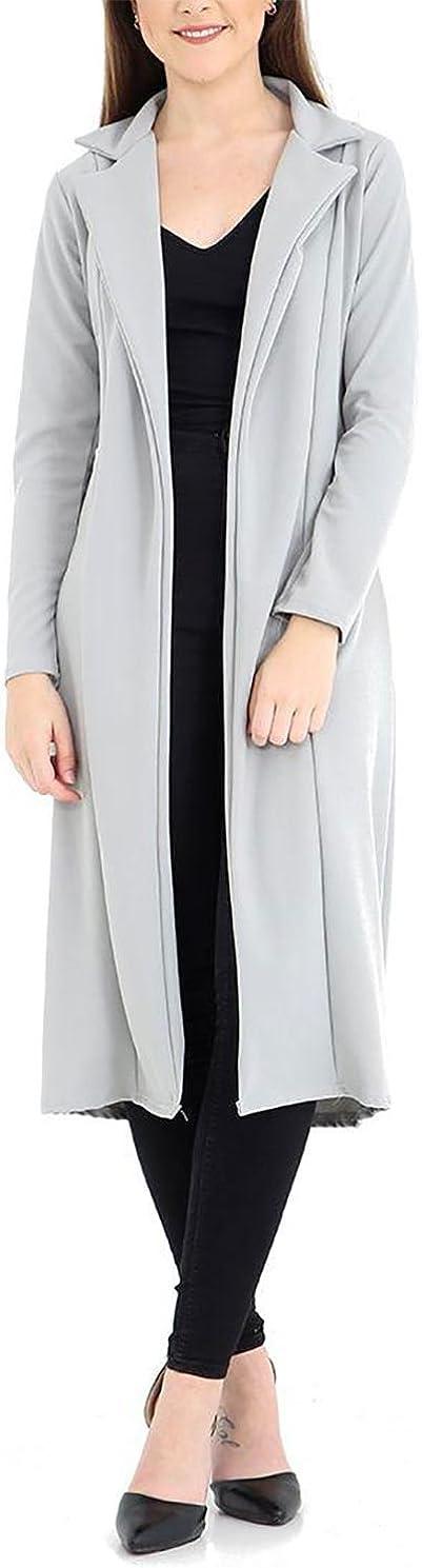 Islander Fashions Womens Celeb Inspired Collar Manica Lunga spolverino Cappotto Giacca Cascata S//XL