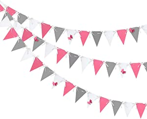 30 Ft Grey Pink White Triangle Flag Butterfly Banner Bunting Double Sided Pearl Paper Pennant Garland for Baby Shower Bridal Wedding Shower Birthday Anniversary Christenings Party Decorations Supplies