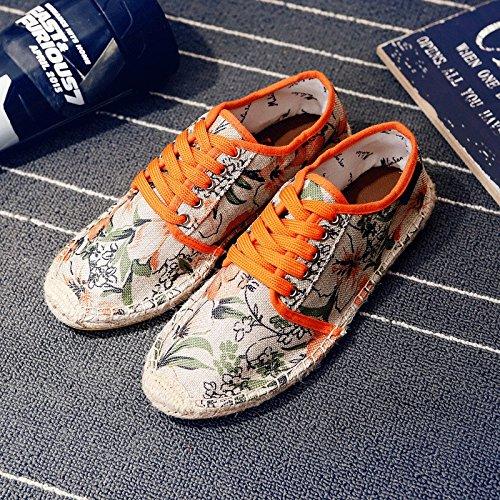 Tela Uomo Piede Orange Stoffa Scarpe Casual Lino Scarpe Scarpe di da di Pigre Paglia Marea Scarpe LIUXUEPING Scarpe da Traspirante Un Scarpe Scarpe Estate di Maschi nZx4Wwt