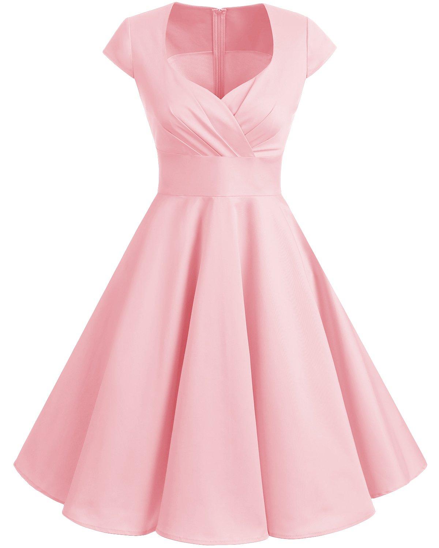 925db24e5ccc5 Bbonlinedress Women Short 1950s Retro Vintage Cocktail Party Swing Dresses  Blush XL