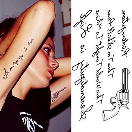 Just Fox - Tatuajes temporales Pistola Texto Cuerpo sintética ...