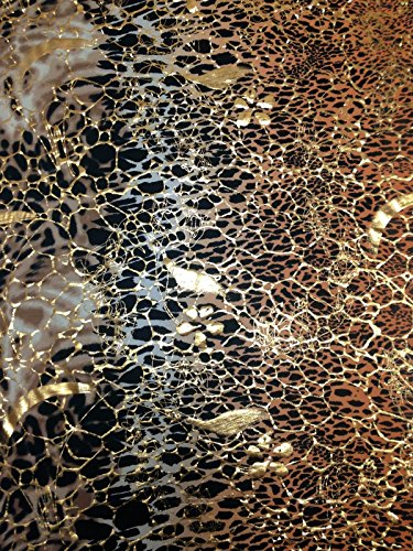 Abstract Animal Big Print w/ Gold Shiny Foil on Stretch Knit Jersey Polyester Spandex Fabric by the Yard