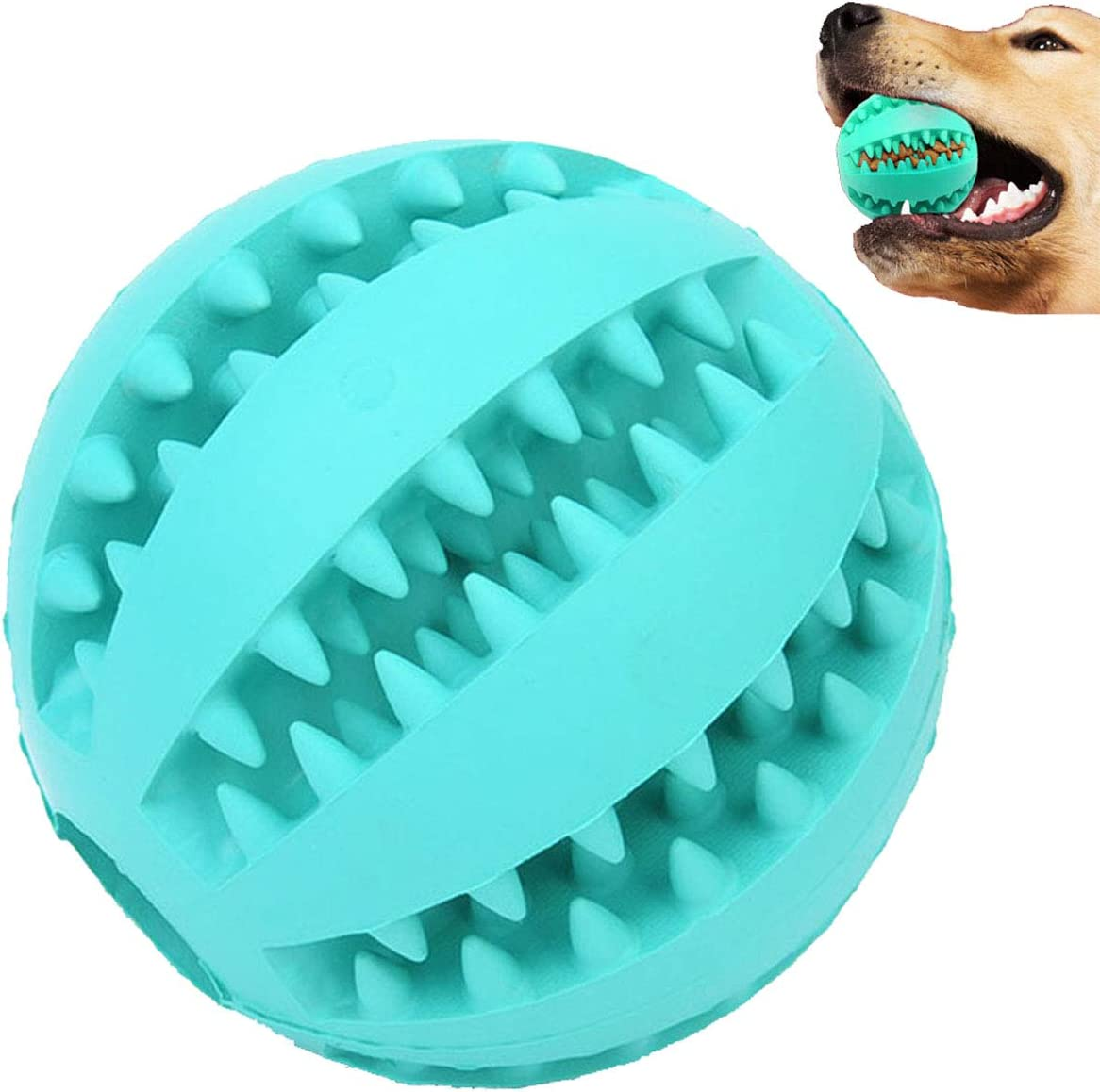 Sunglow Dog Toy Ball, Nontoxic Bite Resistant Toy Ball for Pet Dogs Puppy Cat, Dog Pet Food Treat Feeder Chew Tooth Cleaning Ball