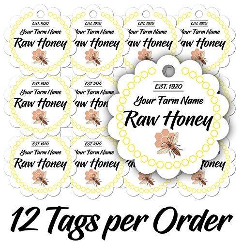 (12 Raw Pure Honey Scalloped Jar Personalized Customized Kitchen Farm Mason Jar Custom Made Lids Tags (RH-01))