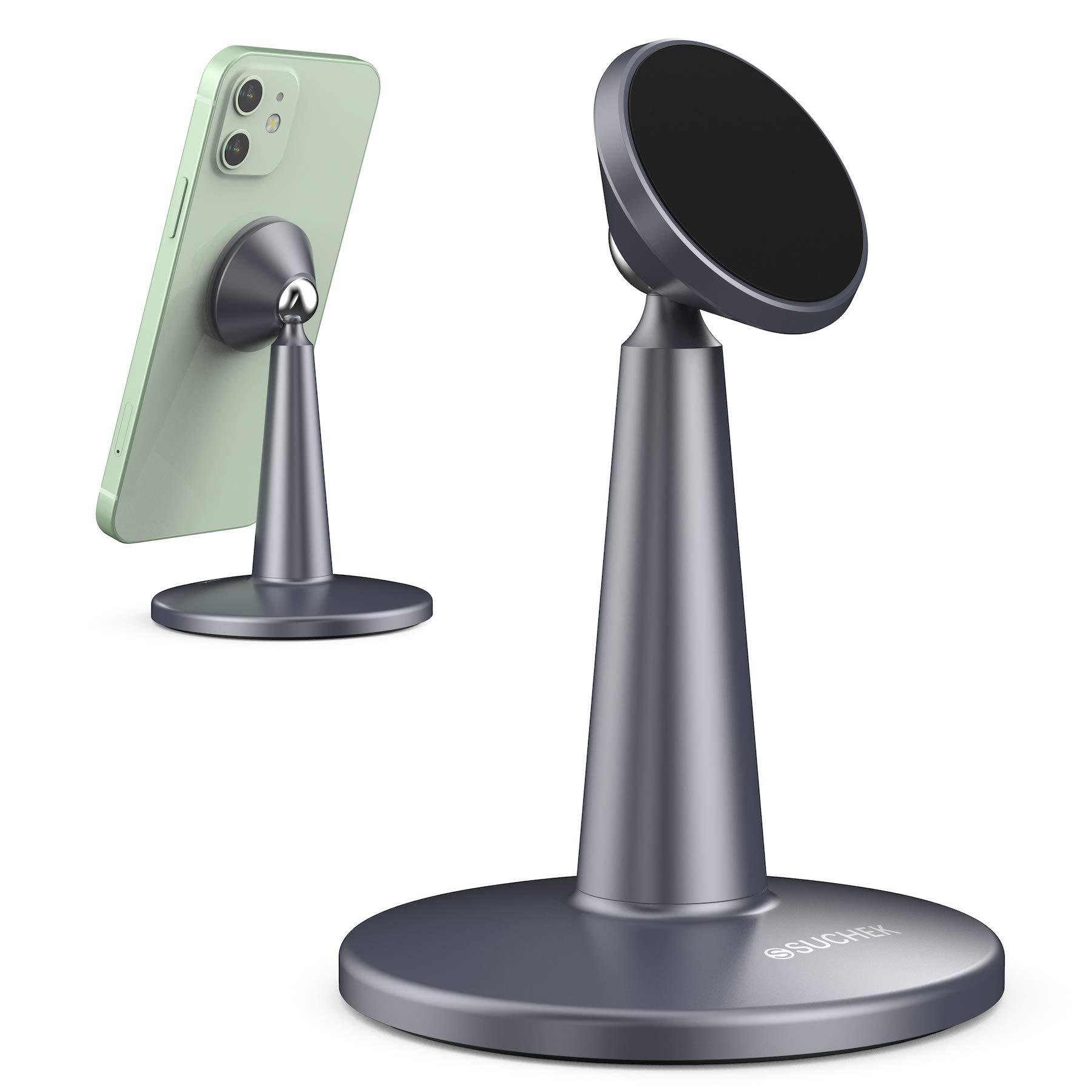 Suchek Magnetic Cell Phone Stand for Desk Adjustable Aluminum Desktop Stand Compatible