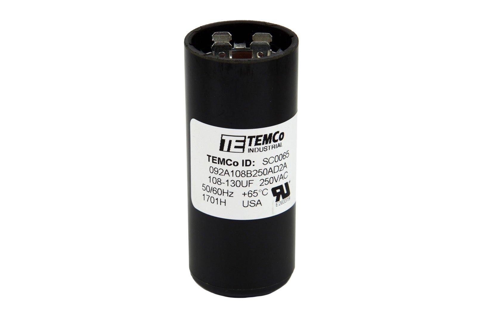 TEMCo Motor Start Capacitor SC0065-108-130 mfd 220-250 V VAC Volt uf Round HVAC AC Electric