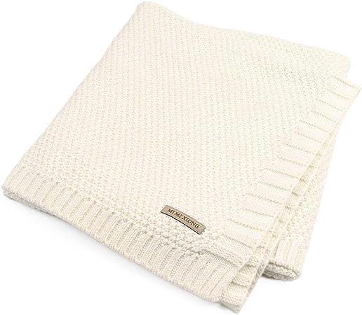Hearthrousy Couverture Plaid B/éb/é Tricot/ée Couvre-Lit en Tricot Motifs B/éb/é Poussette Couverture en Coton pour Housse de Parure de Lit pour Enfant