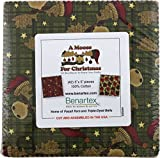 quilting fabric with 5 stars - Cheryl Haynes A Moose For Christmas 5X5 Pack 42 5-inch Squares Charm Pack Benartex