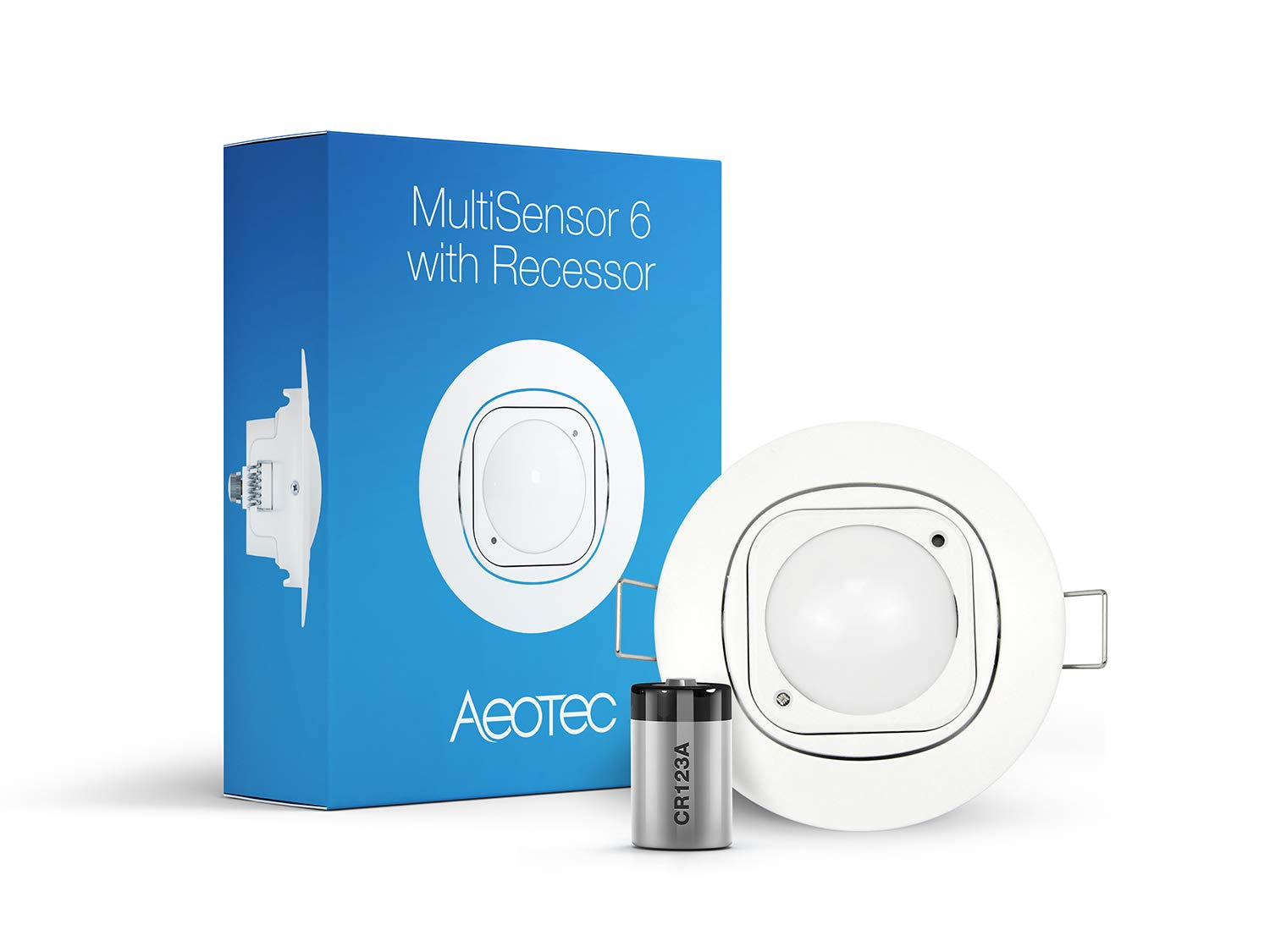 Aeotec Multisensor 6 & Ceiling Recessor, Z-Wave Plus 6-in-1 Motion, Temperature, Humidity, Light, UV, Vibration Sensor, Battery Included by Aeotec